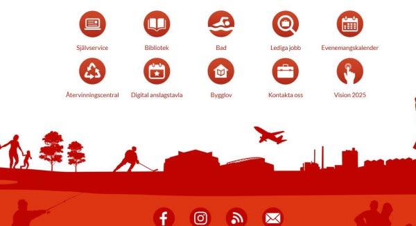 Bilden föreställer Timrå kommuns nya webbplats med  direktlänkar.