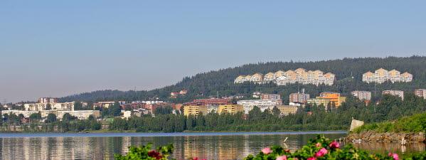 Bilden föreställer Vivsta skylinen med bostadsområdet Örnen i bakgrunden.