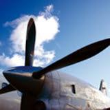 Bilden föreställer en propeller på ett flygplan.
