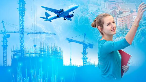 Bilden är ett collage med en kvinna, byggkranar och flyg.