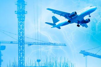 Bilden är ett collage med byggkranar och flyg.