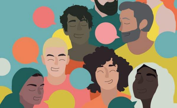 Bilden är en illustration med olika människor och pratbubblor