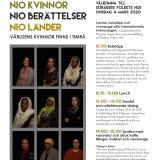 Bilden föreställer en affisch för evenemanget Nio kvinnor, nio berättelsern, nio länder