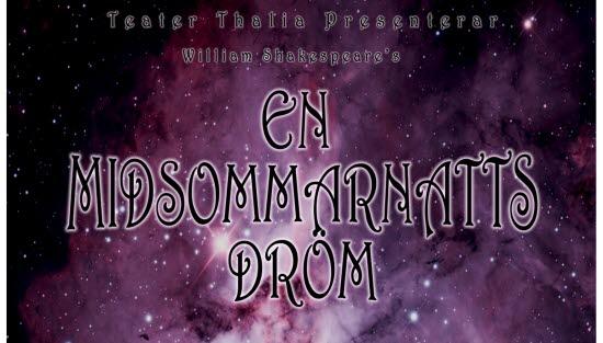 Affisch på Teater Thalias presentation av En midsommarnattsdröm