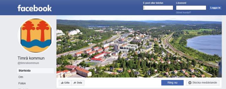 Facebook, Timrå kommuns startsida.