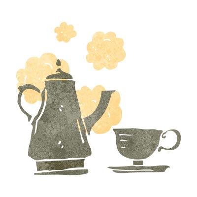 Bilden föreställer en kaffekanna och en kaffekopp