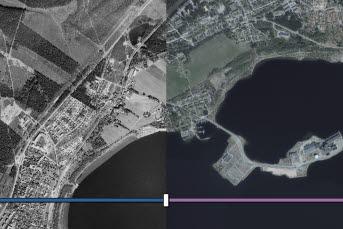 Bilden föreställer ett utdrag ur historiska kartan