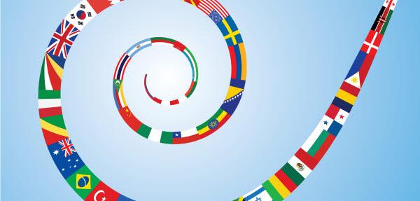 Bilden föreställer flaggor från andra länder