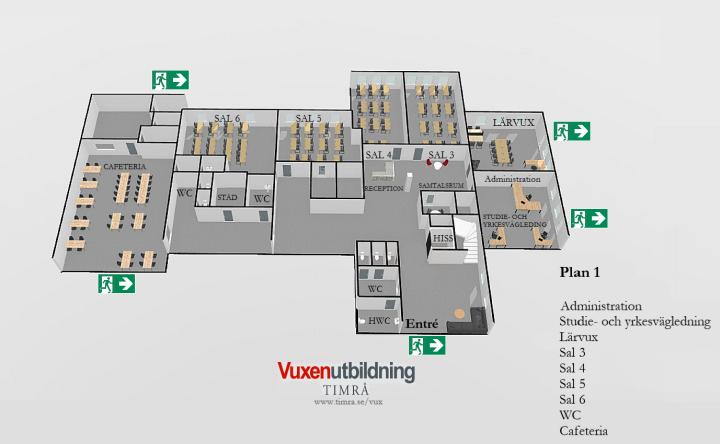 På plan 1 finner du administration, studie- och yrkesvägledare, Lärvux, sal 3, sal 4, sal 5, sal 6, WC och cafeteria.