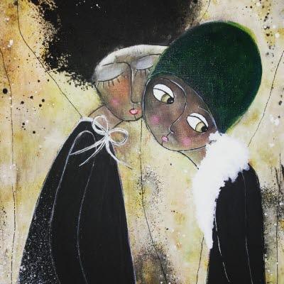 Bilden föreställer  en tavla av Maud Salomonsson, två kvinnor som står mot varandra kind mot kind