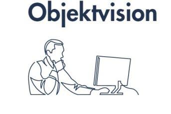 Bilden föreställer en person framför en dator med texten Objektvision.
