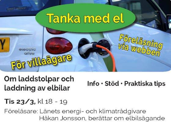 Bilden föreställer en annons för föreläsningen om tanka med el