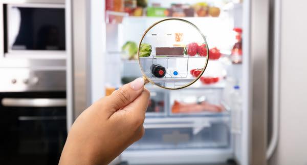 Bilden föreställer ett förstorningsglas som tittar in i ett kylskåp.