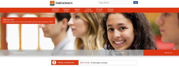 Timrå kommuns nya webbplats.