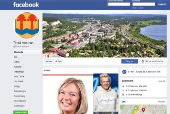 Bilden föreställer Timrå kommuns digitala infartsskylt.facebookssida.