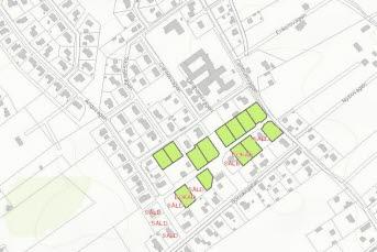Bilden föreställer ett utsnitt ur karta med lediga tomter