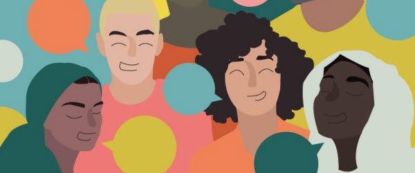Bilden är en illustration av människor med pratbubblor