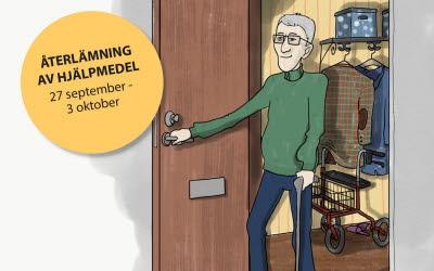 Illustration av en äldre man som öppnar en dörr