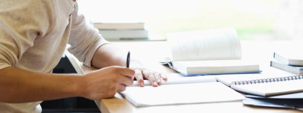 Bilden föreställer en elev som studerar.