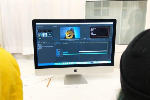 Bild på en dator i kulturskolans filmkurs.