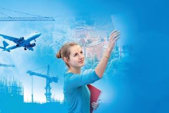 Bilden föreställer en blå bakgrund med en tjej som håller en bok