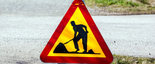 Bilden föreställer en vägarbetsskylt