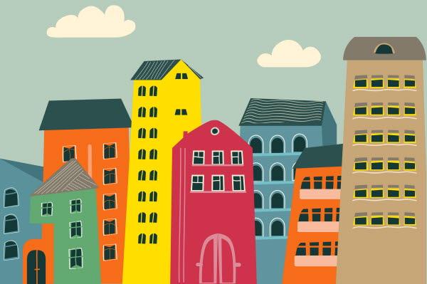 Bilden är en illustration av hus i flera färger