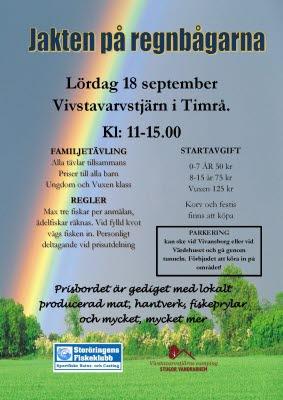 Bilden föreställer en affisch med evenemanget Jakten på regnbågarna där det står information om tävlingen