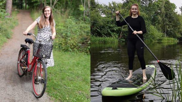 Två bilder är ihopsatta, på den ena står en kvinna och håller i en cykel på en grusväg omgiven av skog. På den andra bilden står en annan kvinna på en bräda på vatten med en paddel i händerna.