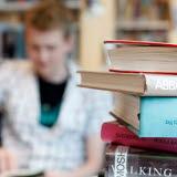 Bilden föreställer en pojke som läser böcker