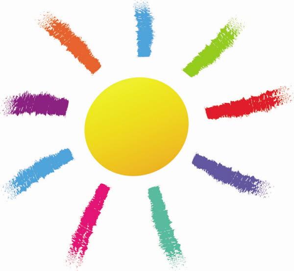 Bilden visar en tecknad sol med strålar i olika färger