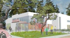 Bilden föreställer Timrås nya simhall. Bilden är en teckning.