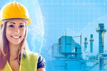 Bilden föreställer en tjej och en fabrik