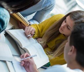 Bilden föreställer elever som studerar.