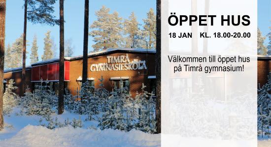 Bild på Timrå gymnasium och text om öppet hus, 18 januari.